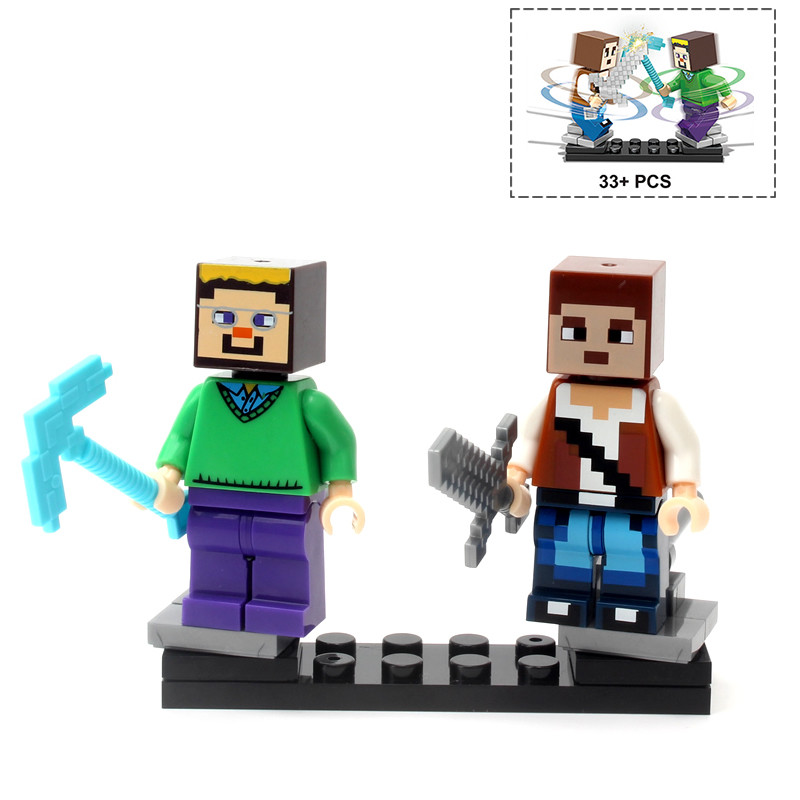 Single Sale Minecrafted Style Zombie Steve figure DIY Building Blocks Toys Compatible Legoings Model 1