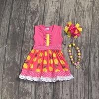Vestido niñas verano ropa niñas lemon vestido niños niñas boutique milk seda vestido de encaje niños lemon vestido con accesorios