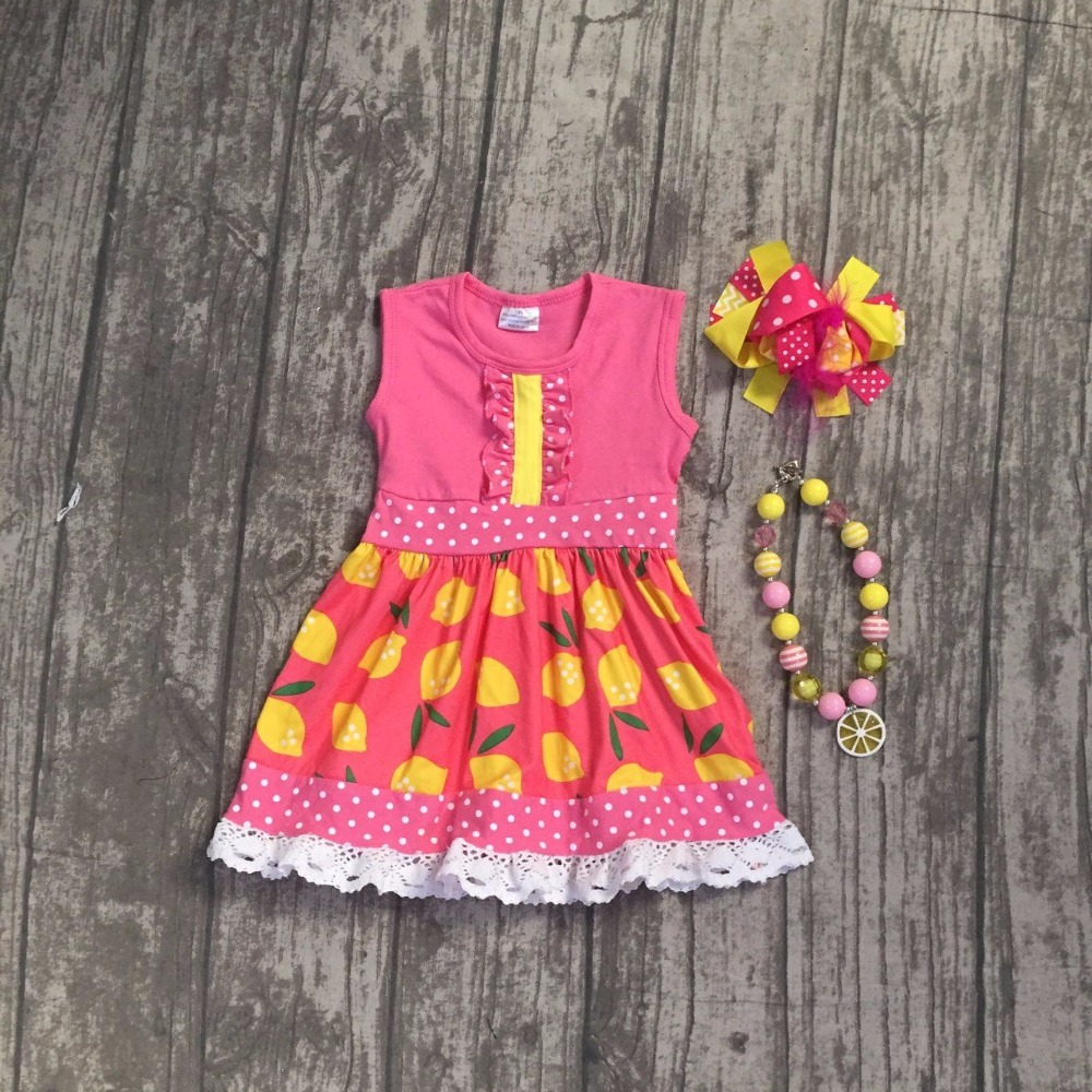 baby girls summer dress clothes girls lemon dress children girls boutique milk silk lace dress kids lemon dress with accessories