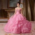 Vestido 15 16 Años Rosa Organza Ruffles Vestido de Baile Quinceanera 2017 Querida Apliques Beaded Pavimento Comprimento Do Vestido Para A Menina