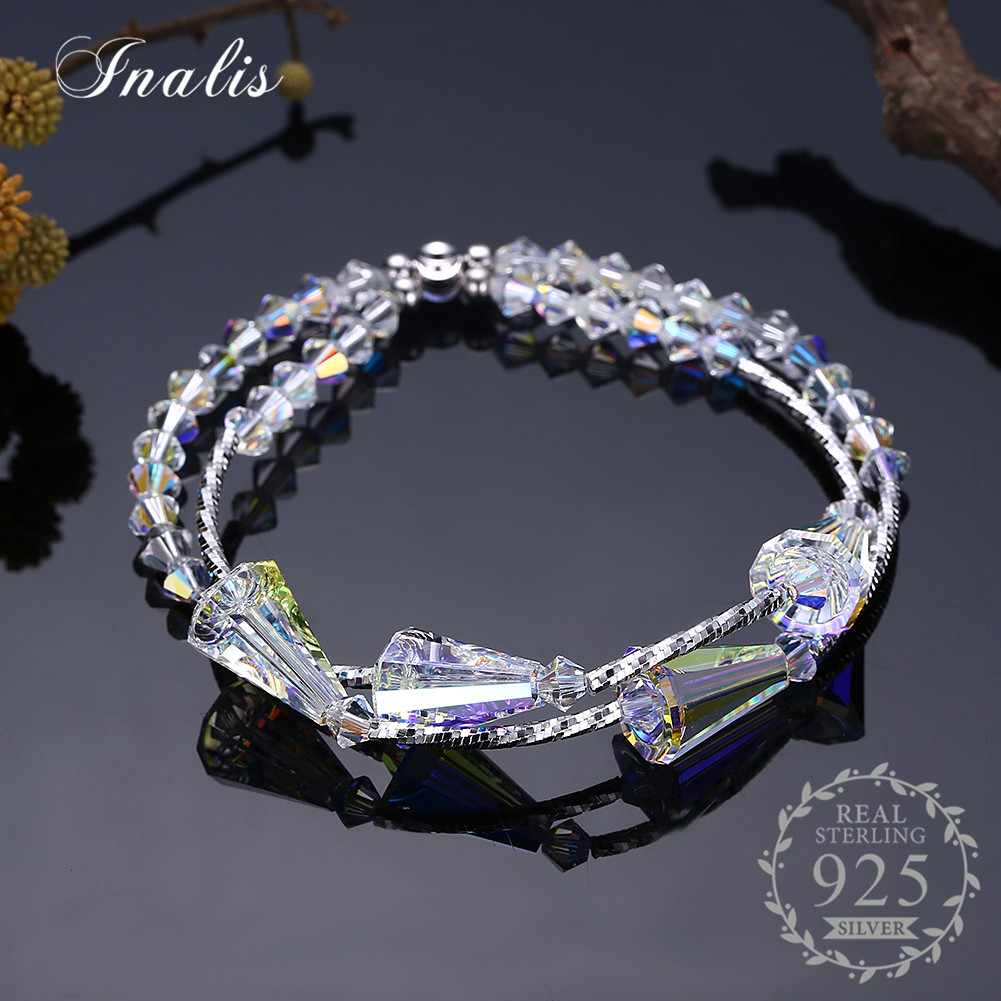 INALIS S925 LEKANI Crystals from Swarovski Clear Crystal Bracelets for Women Fine Jewelry Charm Bangles Wedding Gift 2018NEW