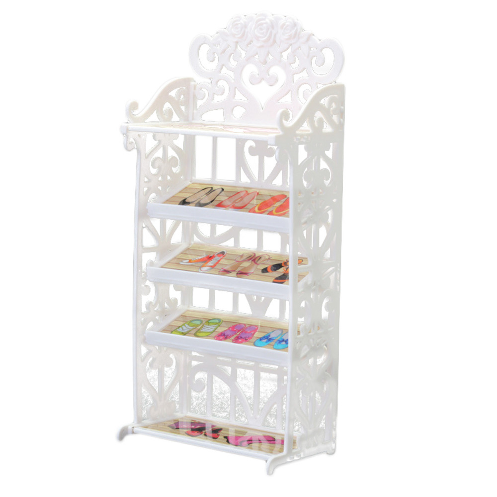 Satkago Doll Shoes Rack Cabinet Furniture Accessories Playhouse for Barbie Dolls Toys kids Children Girls Birthday Xmas Gift