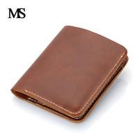 Genuine Leather Men Wallet Super Thin Leather Handmade Custom Name Slim Purse Men Short Small Wallet