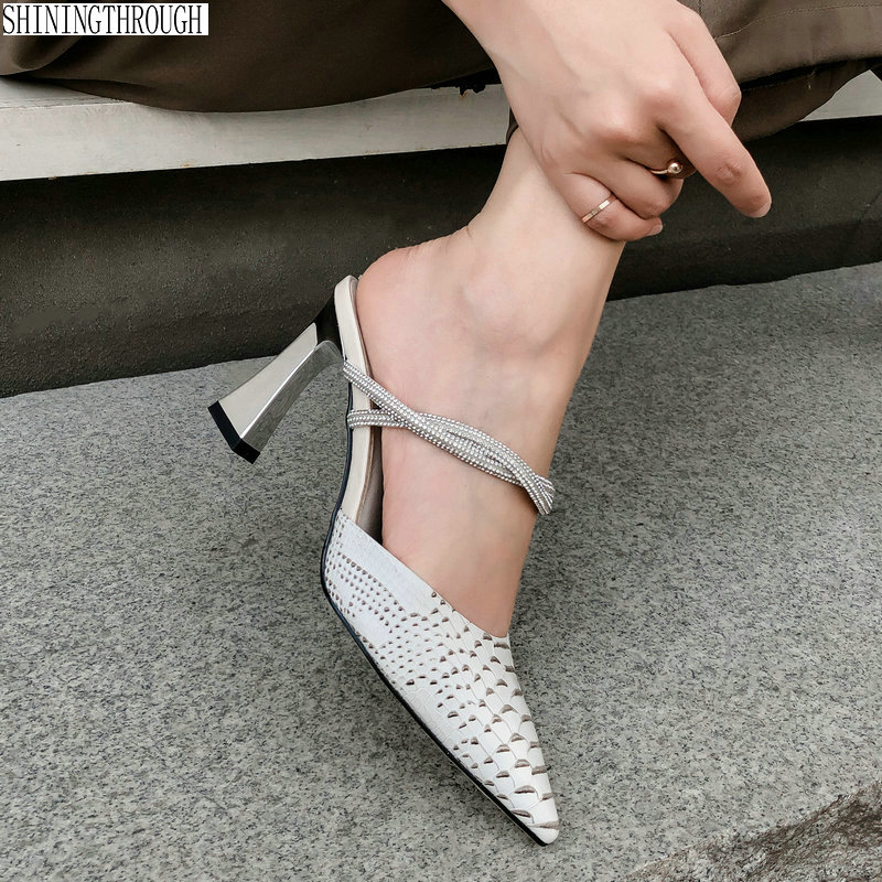 Elegant shoes woman slippers High Heel shoes woman summer sweet Wedding Dress black beige Woman sandals