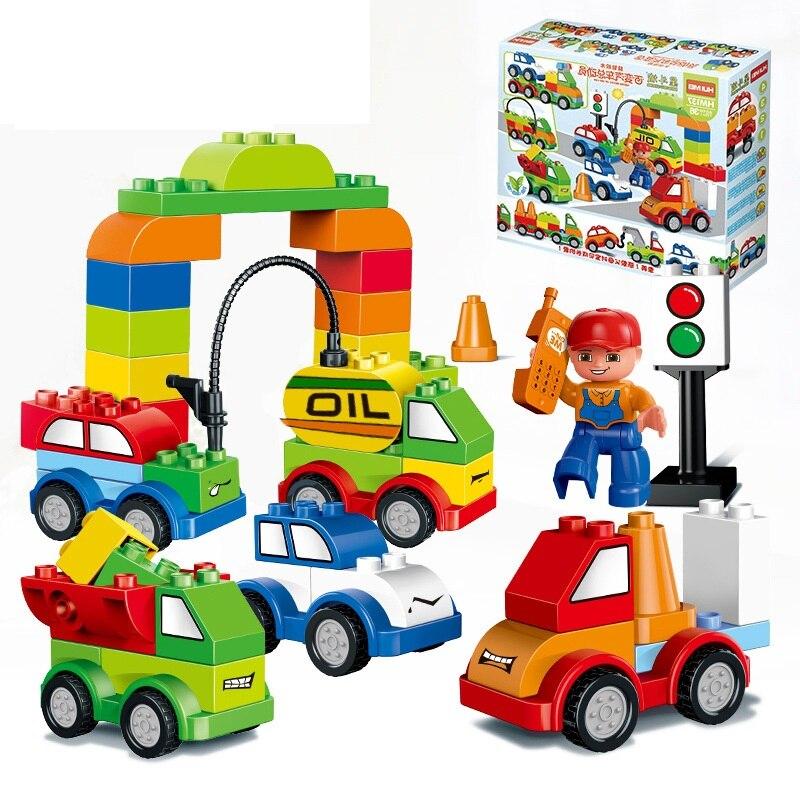 52pcs Varied Bricks Set Car Gas Station Truck Crane