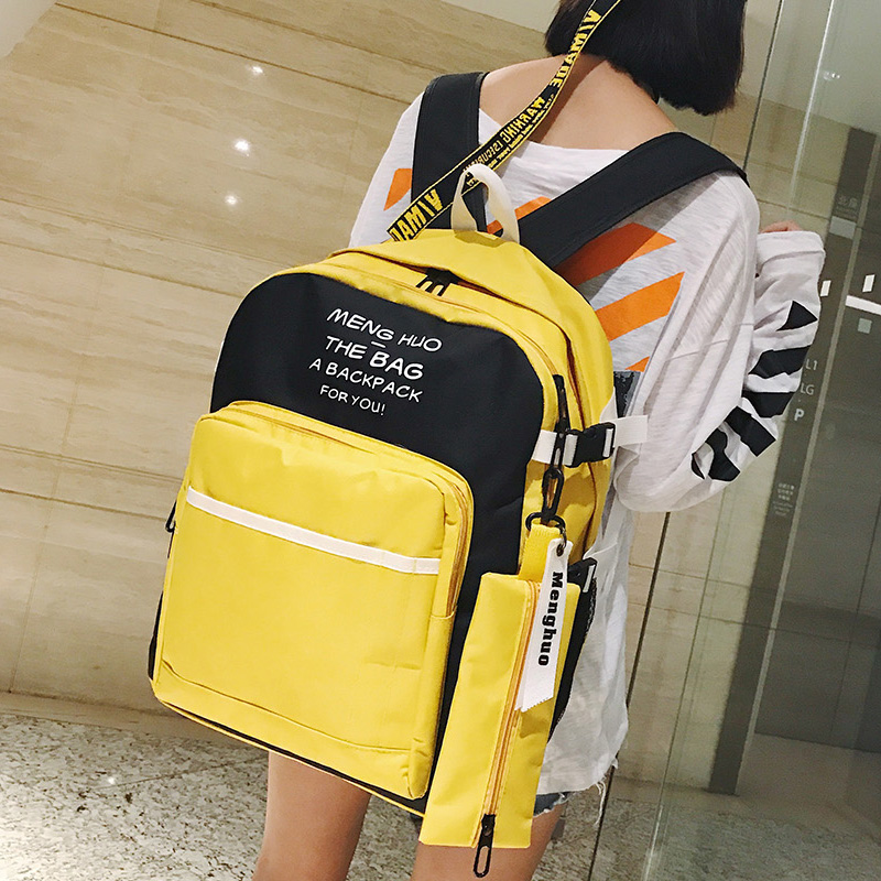 Harajuku Fashion Women Laptop Backpacks Kawaii Yellow Shoulder School Bag Rucksack For Girls Travel Bag Pack Bolsas Mochilas