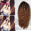 150% плотность два тона человеческие волосы парик # 1b/#30 ломбер фронта шнурка парик Кудрявый Вьющиеся парик шнурка монгольский человеческие волосы парик для черных женщины