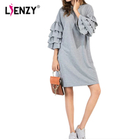 LIENZY 2017 Spring Fashion Butterfly Sleeve Dress Women Loose O Neck Summer Gay Female Vestidos