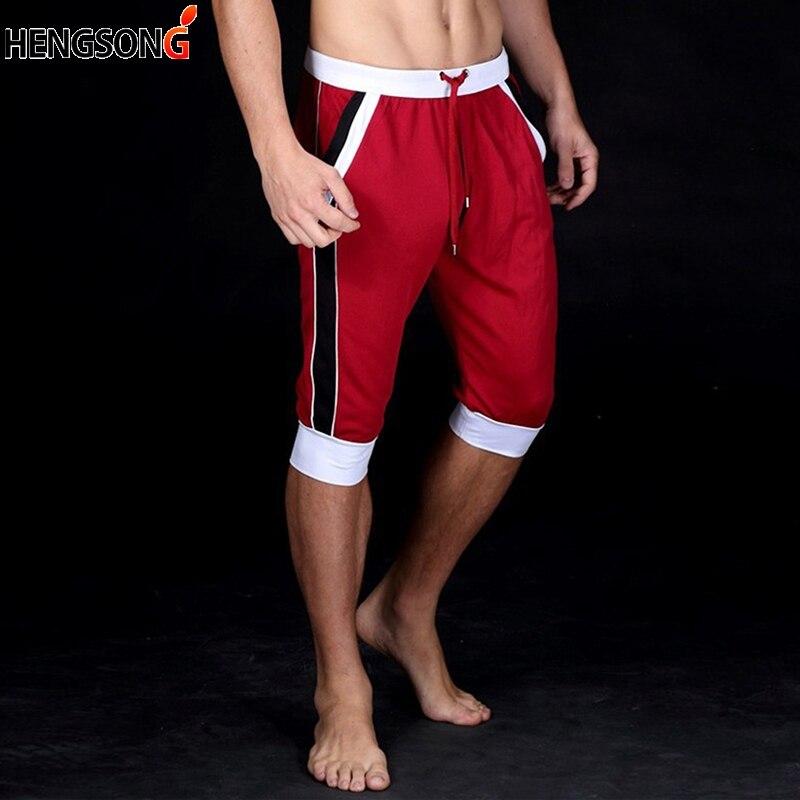 2018 Hengsong Men Knee Length Shorts Summer Fashion Elastic Waist Drawstring Strap Fitness Shorts Men Casual Shorts 707978