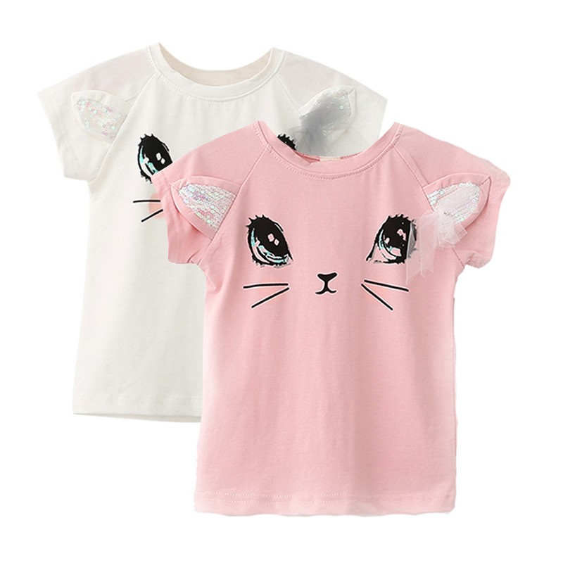 Baby T-Shirt Birthday-Clothes Sequins Girl Princess Cartoon Summer Mesh Bow Cat