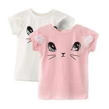 Baby T-Shirt Girl Clothes Cartoon Cat Sequins Mesh Bow Summer Princess Birthday
