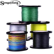 Sougayilang Brand High Quality 500M 4 Strands Multifilament PE Braided Fishing Line Multicolor Fishing Line 0.4-8.0# 12-72LB