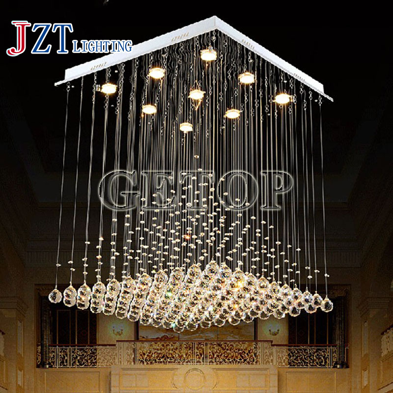 J лучшая цена моды площади Хрустальная люстра Пирамида Форма люстры Лампы для мотоциклов K9 Crystal Light для лестницы фойе Droplight