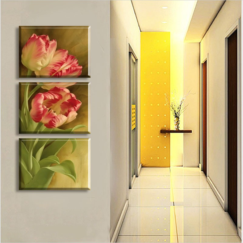 3 Pcs Modern Wall Painting Tulip Flowers Wall Art Canvas Paintings ...