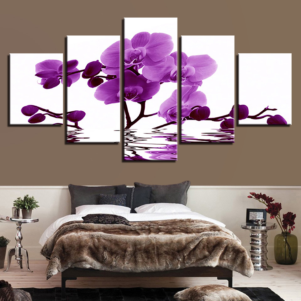 Online Shop Orchid Wall Painting Flower Canvas Painting Home - Decor-uas