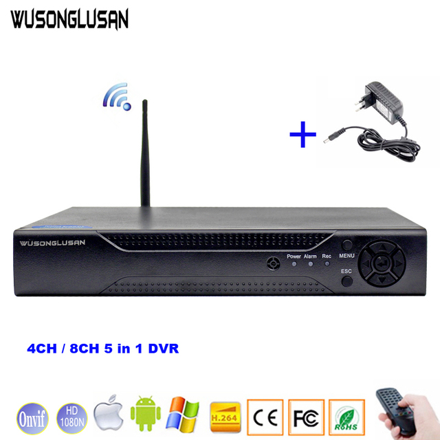 4CH 8CH 5 w 1 1080N DVR XMeye CCTV cyfrowy rejestrator wideo z Wifi 3G Onvif chmura P2P H.264 dla kamera ahd IP kamera hdmi vga
