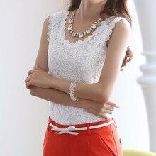 New Fashion Women White Lace Blouse O-neck Sleeveless Shirts Blusas Elegant Blouse Shirt Women Summer Tops Plus Size S-XXXL
