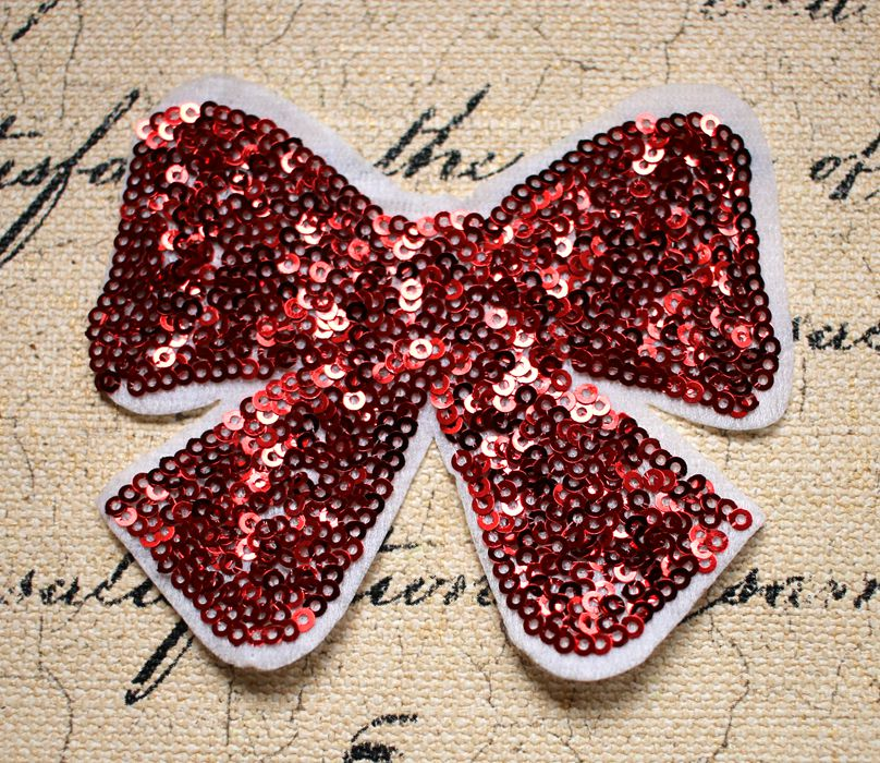 Women s red sequins Bowknot cloth DIY clothing accessories skirt T - shirt tops recommend patch paste handmade stitching AC661