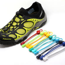 2016 fashion No Tie Locking Shoelaces  sneaker elastic Shoelaces children safe elastic shoe lace for running