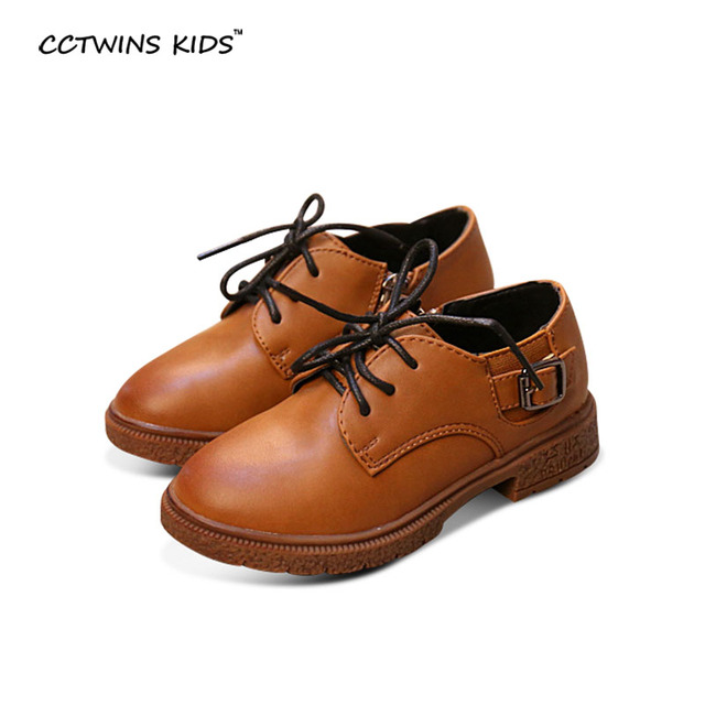 CCTWINS KIDS spring autumn baby girl brand oxford shoe boy pu leather flat children lace-up shoe toddler black school flats