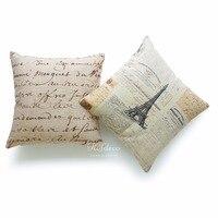 Set of 2Pcs Decorative Throw Pillow Cases Vintage French Script Parchment Paper Cotton Linen HEAVY WEIGHT FABRIC Cushion Cover