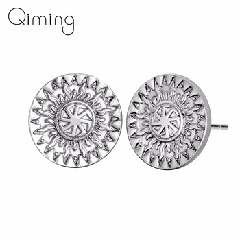 fashion Norse Slavic Earrings Women Men Russia Trendy Simple Sun Wheel Amulets Gold Vintage Woman Stud Earrings Russian Gift image