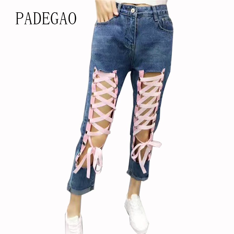 Lace up Pink Woman Push Up Denim Mujer Jeans Feminino Female Womens Femme Boyfriends Pants For Women Loose Large Plus Size female boyfriends vintage mom jeans woman rivets high waist jeans women plus size loose jeans womens pants denim womens quality