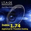 1.74 Índice de Lente Anti Luz Azul Violeta Óculos de Prescrição Óptica Para O Revestimento de Escritório Trabalhador Computador Eyewear Com 7 Função