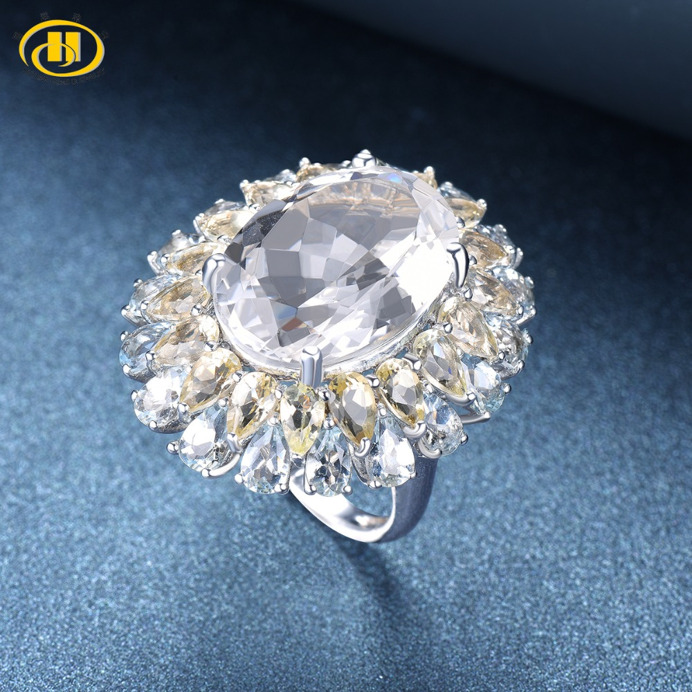 Hutang Engagement Ring Natural Gemstone 16ct Topaz Solid 925 Sterling Silver Quartz Fine Fashion Stone Jewelry For Women's Gift hutang engagement ring natural gemstone amethyst topaz solid 925 sterling silver heart fine fashion stone jewelry for gift new