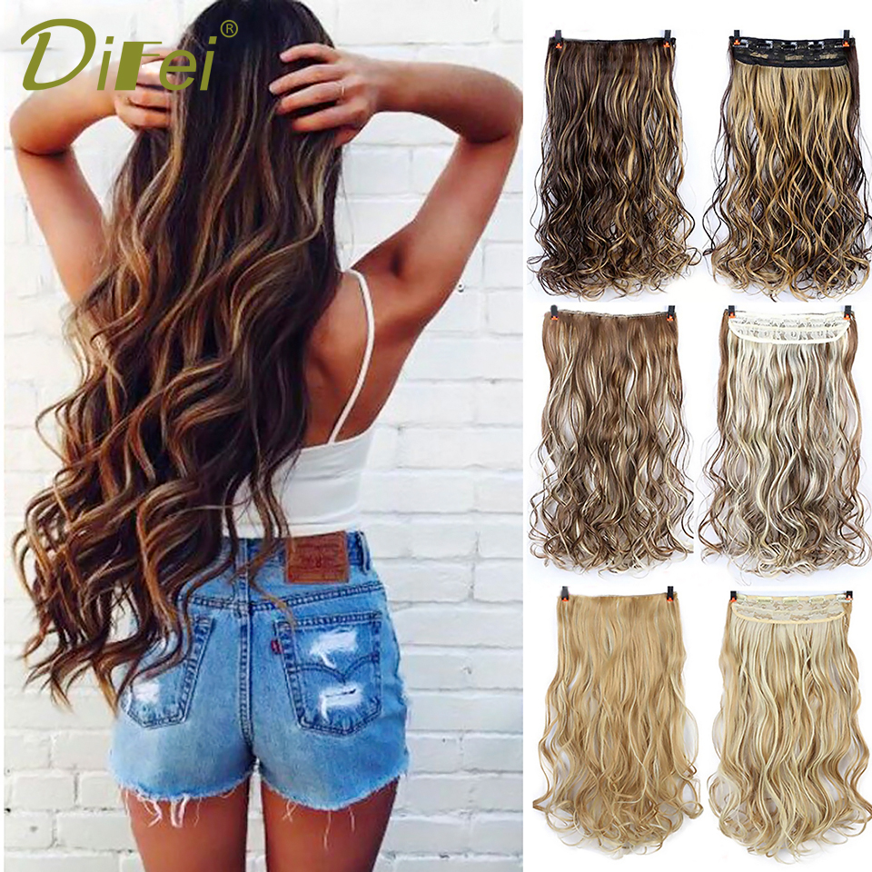 DIFEI 5 Clip 24 Inches Natural Synthetic Long Wavy Hairpiece Clip In Hair Extensions High Temperature Fiber Fake Hair Piece
