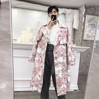 Pink Coat Autumn and Winter Models Small Floral Cloak Long Trench Mens Coat Jacket Long Coat Mens Trench Coat 2018 Windbreaker