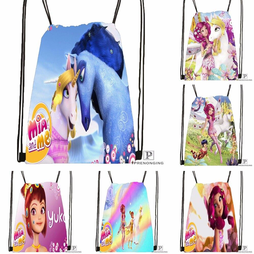 Custom Mia And Magic Me Drawstring Backpack Bag Cute Daypack Kids Satchel (Black Back) 31x40cm#180531-04-01