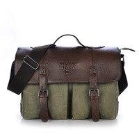 messenger bag men canvas vintage satchels Canvas Leather Men's Briefcase Bussiness Shoulder For Women Man Unisex