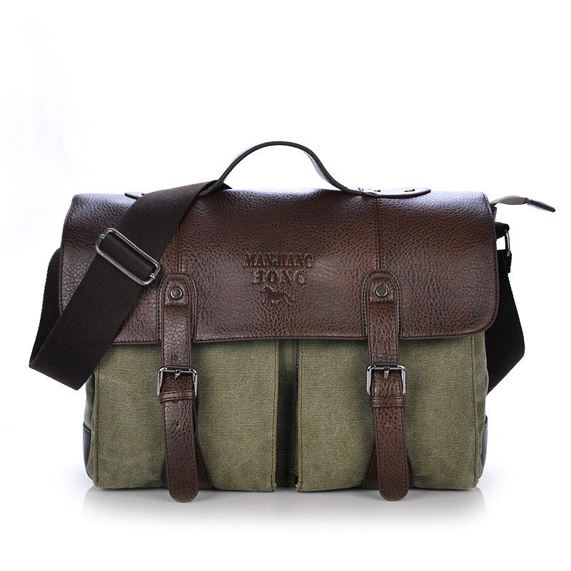 ФОТО messenger bag men canvas vintage satchels Canvas Leather Men's Briefcase Bussiness Shoulder For Women Man Unisex