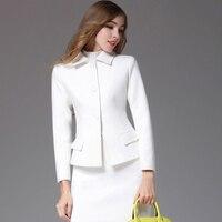 Women's clothing Blazer Slim Elegant Long Suit Jacket Office Business Suits Cardigan Feminino Women Short skirt two piece set T