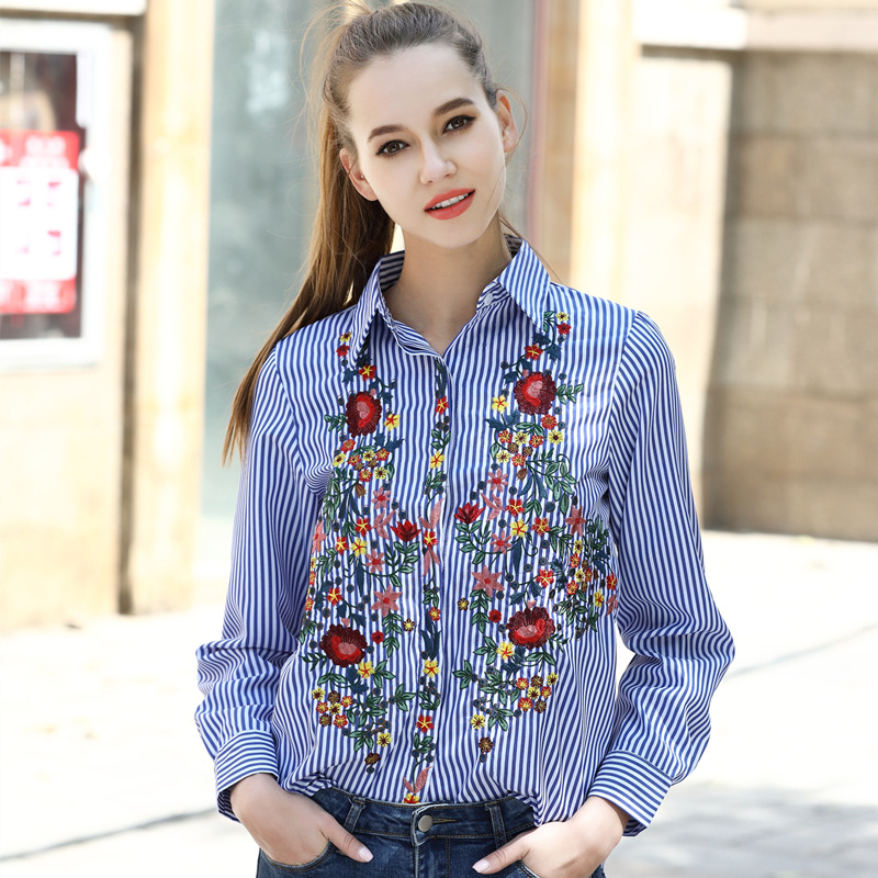 2017 Women Floral Embroidery Blouses Long Sleeve Casual Turn Down Striped Tops Femme Loose Collar Blusas