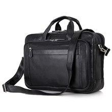 Vintage Genuine Leather Men's Briefcase 15.6″ Laptop Bag Shoulder Male Bags Cow Leather Handbag Totes Men Messenger Bags J7367