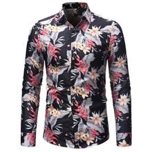 Digital Print Floral Mens Shirt Blouse Men Casual Slim Long-sleeved Hawaiian Male Flower