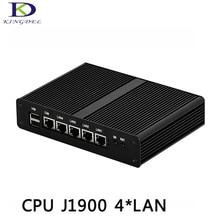 Kingdel Celeron J1900 CPU Quad Core Fanless Industrial PC,4 LAN Mini Desktop Computer with Black Case VGA Display port Windows 7