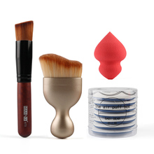 4pcs/set Oval Contouring Kabuki Makeup Brush Flat Foundation Brush BB Cream Cushion Air Puff Flawless Sponge set black 5pcs oval makeup brush set