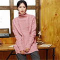 100% hand made pure cashmere twist knit women fashion turtleneck solid open hem pullover sweater black 5color customized