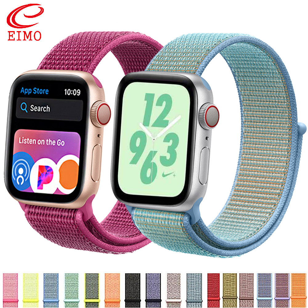 EIMO Strap For Apple Watch band 44 mm 38mm Nylon apple watch 4/3/2/1 iWatch band 42mm 40mm sport loop correa bracelet watchband drone helipad