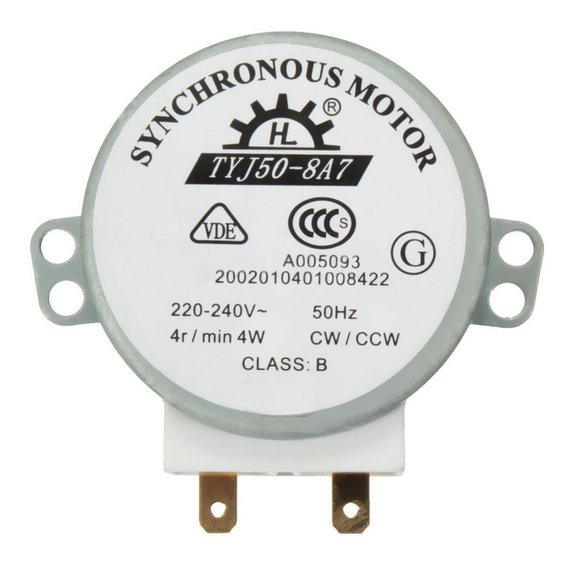 New AC 220V-240V 50Hz CW/CCW Microwave Turntable Turn Table Synchronous Motor TYJ50-8A7 D Shaft 4 RPM VEJ20re P12 0.3 ac 220v 240v 33rpm 4w 50 60hz cw ccw 7mm shaft dia fan synchronous motor