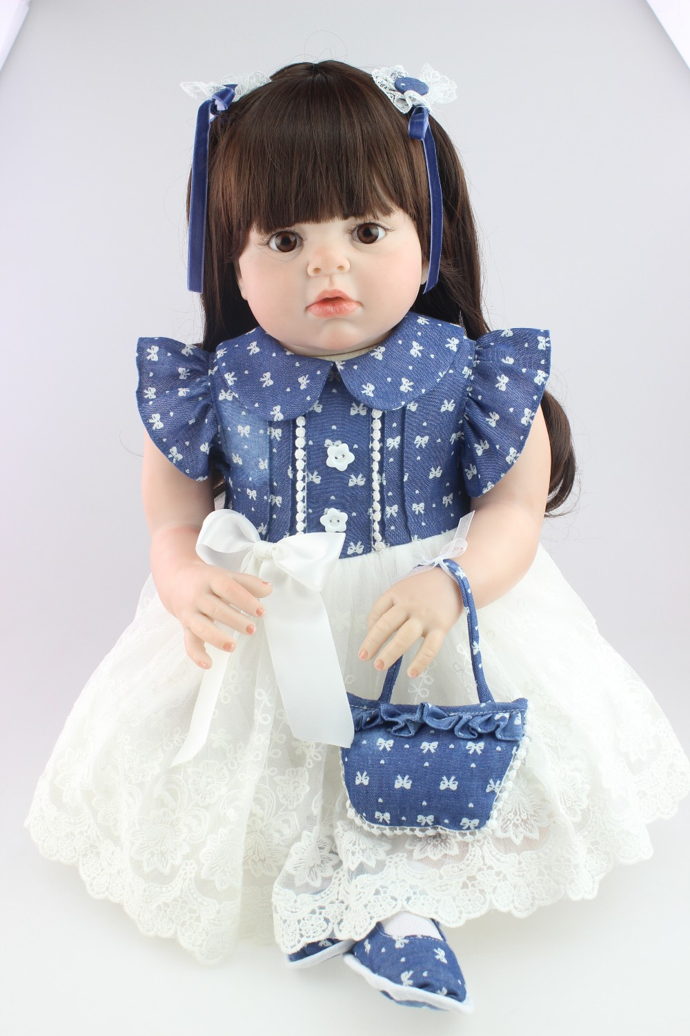 28inches fashion reborn todder doll New design realistic reborn doll with long wig soft silicone vinyl real gentle touch 2017 new design reborn sweet baby doll soft real gentle vinyl silicone touch body and wig hair