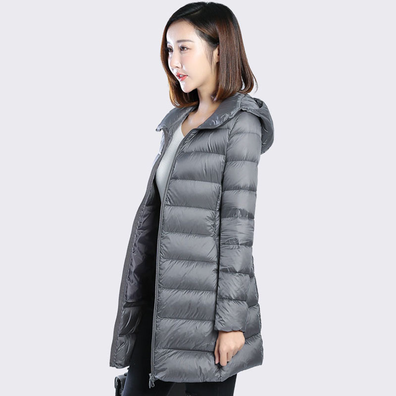 Female winter down coat 2017 white duck down jacket hooded long slim down outerwear large size long sleeve women coat QH0987 2017 new winter fashion women down jacket hooded thick super warm medium long female coat long sleeve slim big yards parkas nz18