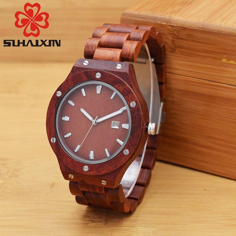 SIHAIXIN Red Sandalwood Band Watch For Men Special Case Luxury Vintage Calendar Quartz Wristwatch De Male Clock Gift Box