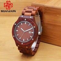 SIHAIXIN B54WG Maple Red Sandalwood Wooden Watches For Men Three Tone Male Vintage Calendar Quartz Luminous