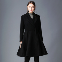 Top Quality Women Wool Coat Black Winter Long Coat Overcoat Casual Fashion Jacket Single Breasted Autumn
