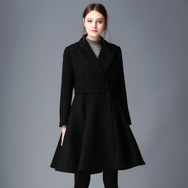 Ladies single breasted black wool coat