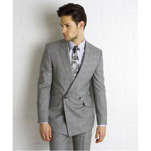 Double Breasted Suit 2017 Custom Made Light Grey Side Vent Slim Fit Best Man Suit Wedding groom men Suits (Jacket+Pants+Tie)(China)